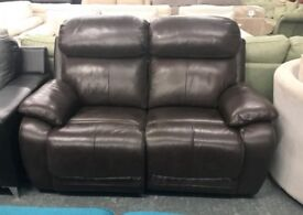 DFS brown leather recliner 2 seater sofa