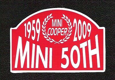 Mini Cooper 1959-2009 50th Anniversary Sticker, Vintage Sports Car Racing Decal
