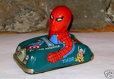 VINTAGE MARX SPIDER MAN TIN CAR 1968 FRICTION N. MINT RARE