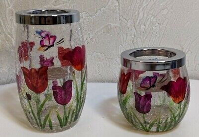 Yankee Candle Tea Light Holder T/L Cracked Crackle Glass Tulip Set