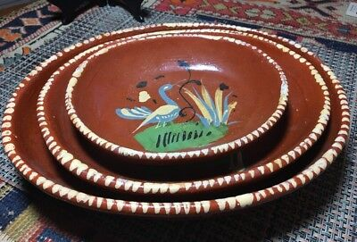 3 Vintage Mexican Nesting Bowls; Red-ware, oval shaped, hand-pained bird design Oval Nesting Bowls