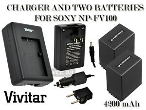 2-Battery-Charger-FOR-SONY-NP-FV100-4200-mAh-NEX-VG10-HDR-XR550V