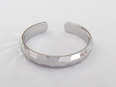 Sterling Silver 3mm hammered band size small-medium adjustable toe ring