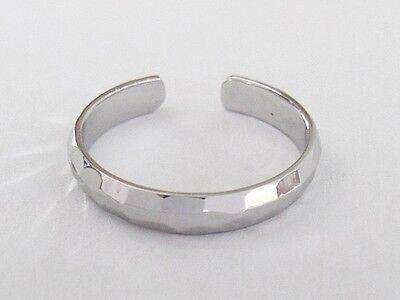 Sterling Silver 3mm hammered band adjustable toe ring