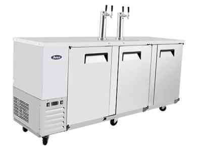 90 Direct Draw Beer Mkc90 Kegerator 3-door Stainless Back Bar Refrigerator Top