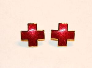 Nurse's Red Cross Collar Pin Set