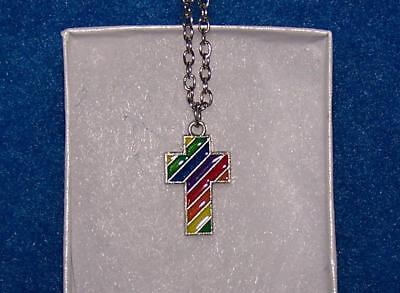 CROSS GAY LGBT RAINBOW PRIDE pendant 925 STERLING SILVER 18
