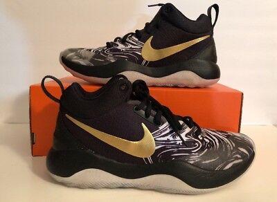 Nike Zoom Rev BHM QS Mens Basketball Shoes SZ 8.5 Black Metallic Gold AA1009 001