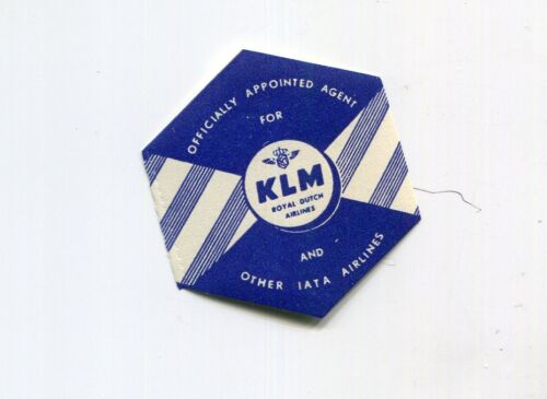 Vintage Airline Luggage Label KLM Airlines Officially Appointed Agent