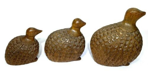 Set of 3 Vintage Carved Solid Wood Quail Figurines