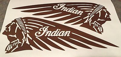 """Copper Metallic 4.5"""" x 12"""" Indian Motorcycle Tank Decal Scout Chief R & L COOL"""