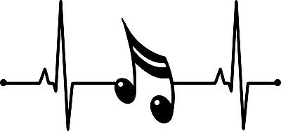 Music Note Lifeline Decal Window Love Band Rhythm Tunes Bumper Sticker Car Decor](Musical Decor)