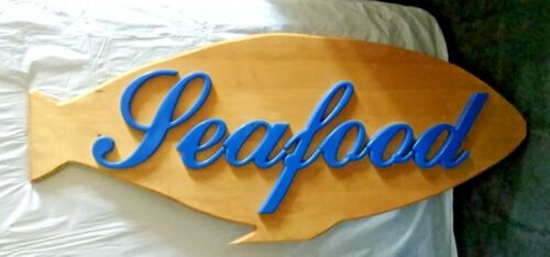 48 INCH WOOD HAND MADE FISH RESTAURANT SIGN NAUTICAL SEAFOOD