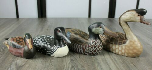Lot of Four Wooden Hand Painted Ducks Bird Decoys Decor - All Different Sizes