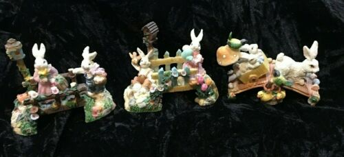 Vintage  EASTER EGG  Bunny Rabbit Family Ceramic Polyresin Home Display