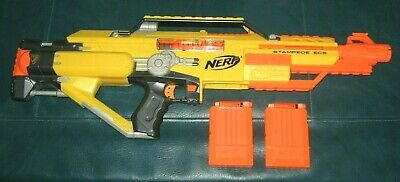 NERF Stampede ECS N-Strike Blaster Gun with 2 Ammo Clips & Shield and 12 Bullets