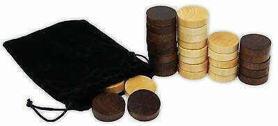 Wooden Backgammon & Checkers Pieces 30 Replacement Game Chips Cloth Storage