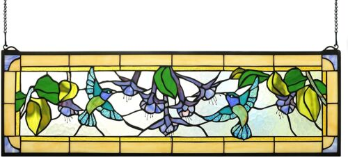 """32"""" x 10"""" Stained Glass Tiffany Style Golden Dancing Hummingbirds Window Panel"""