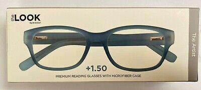 The Look Eyewear The Artist Premium Rubber Reading Glasses Blue +1.50 (The Look Eyewear Reading Glasses)