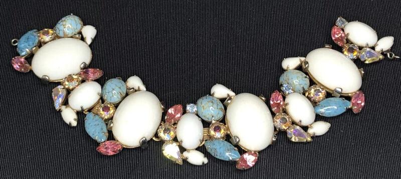 Vintage ALICE CAVINESS BRACELET White & Turquoise Cabochon Pink & AB Rhinestones