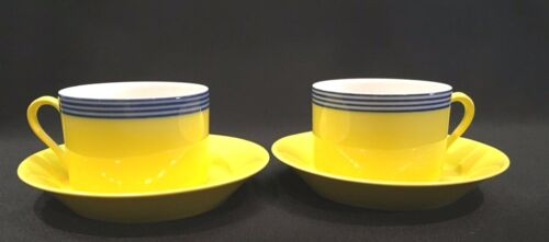 Fitz & Floyd In Glaze Blue Circa Yellow Blue Striped Flat Cup & Saucer Set of 2