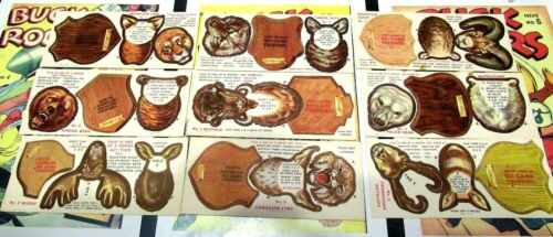 Sergeant Preston BIG GAME TROPHIES Quaker Cereal Premiums FULL SET of 9 Cut-Outs