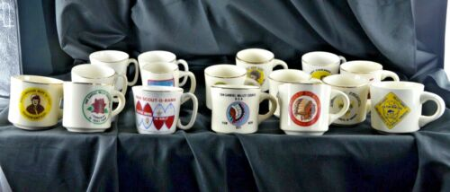 *Lot of 16* VINTAGE BSA Boy Scouts of America Coffee Mugs 60s,70s Collection-USA