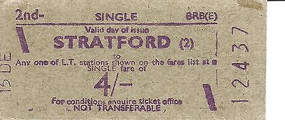 B.R.B. Rapidprinter Ticket- Stratford to any L.T. Station on Fares List for 4/-