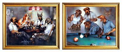 Dogs Playing Pool Dan And Poker Cards Two Set Golden Framed 8x10 Wall Decor Art