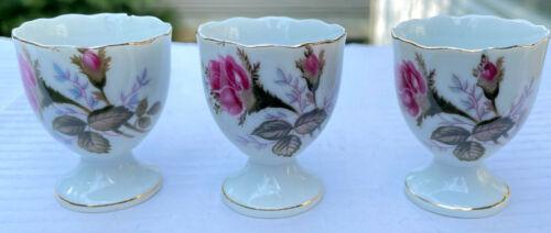 3 Vintage Fine China Egg Cups, Japan, 1 w/chip, flowers, roses, gold trim