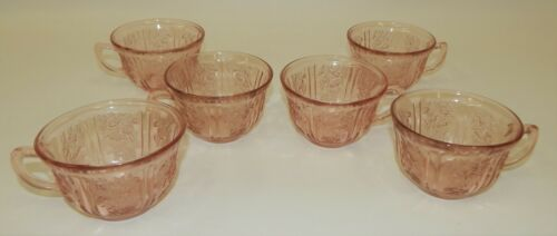 6 Vtg Federal Pink Depression Glass Sharon Cabbage Rose Tea Coffee Cups