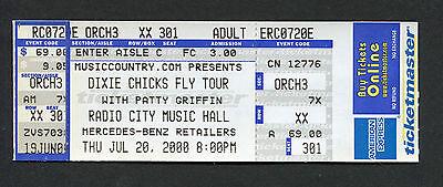 Dixie Chicks 2000 Unused Full concert ticket Radio City Music Hall Fly Tour
