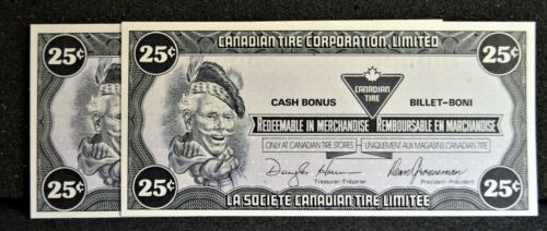 Canadian Tire Money Consecutive Pair 25 cent Notes CTCS-14D in Gem UNC Condition