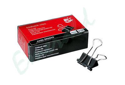 12 x 19mm Foldback Metal Black Fold Back Bulldog Clips - Same Day Dispatch