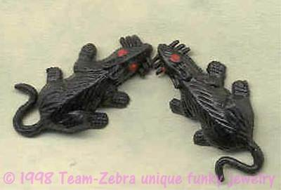 Halloween Costumes For Rats (Funky Gothic Mini BLACK RATS MICE EARRINGS Mouse Novelty Zombie Costume)