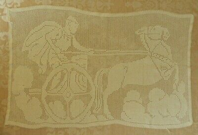 Vintage handmade white Tatted lace tray dressing table cloth. Chariot Gladiator