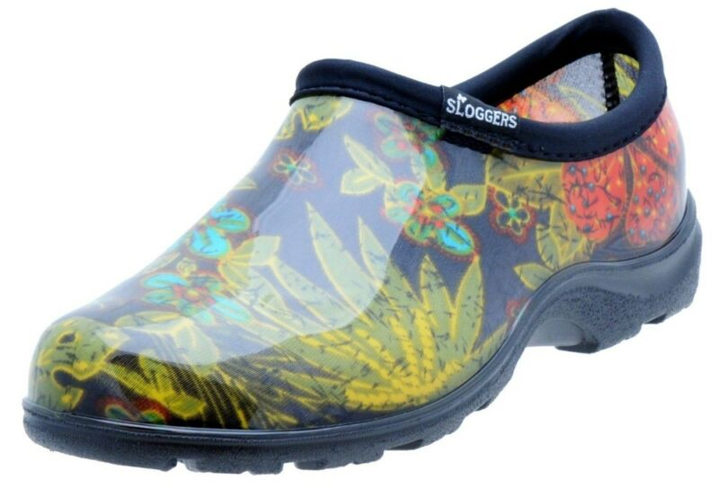 "Sloggers Women's Rain and Garden Shoe with ""All-Day-Comfort"" Insole, Midsummer Black Print W Size 8 Style 5102BK08 5102BK08"