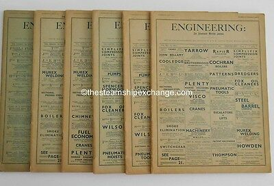 Ocean Liner NORMANDIE - Lot of Six ORIGINAL Issues of Engineering, 1932-1935