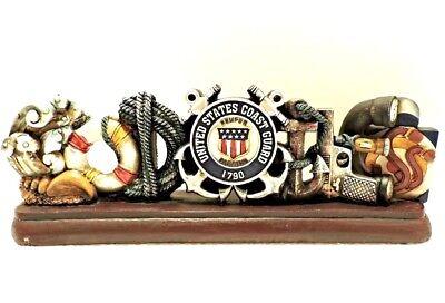 US Coast Guard Veteran God Bless 3D Desktop New 11 1/2x4 Inches Polyresin