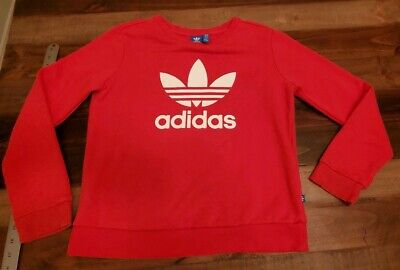 ADIDAS DH5826 RED SMALL TREFOIL CREWNECK ATHLETIC SWEATSHIRT SWEATER 💕🔥