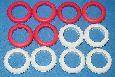 Large Bumper Pool Table Rubber Bumper Post Rings - 6 White & 6 Red - Set of 12
