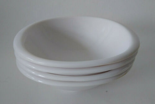 "4 Vintage Retro Kitchen Boontonware White Cereal Bowls 6.5"" 1307-12"