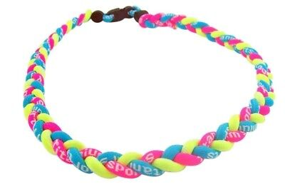 Neon Blue Pink and Yellow 22 Inch Titanium Sports Necklace for Female Athlete - Neon Pink Necklace