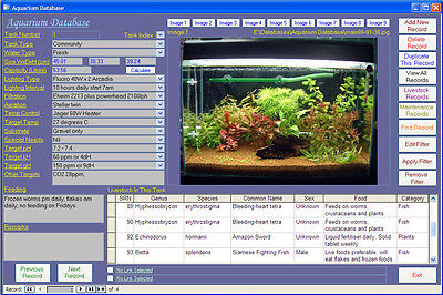 Aquarium and Fish Image Database Maintenance Software CDROM for Windows