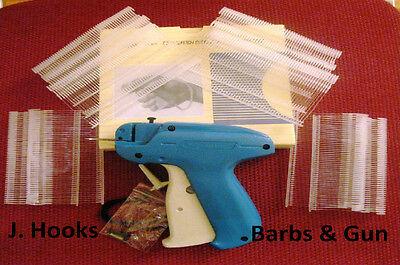 """500 Pcs 1.5"""" J Hook Fasteners Standard Tagging Barbs Plus Tagging gun & 1 needle"""