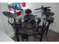 Roland TD-25kv drum kit with pearl hi hat stand, bass drum pedal and stool.