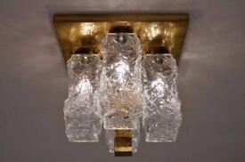 Kalmar ceiling light Brutalist glass & brass Kalmar, 1970`s ca, Austrian
