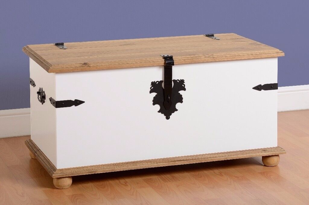 New White or Grey Corona Single Trunk blanket box £129 available today