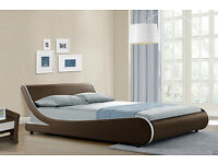 brand new brown leather king size bed with memory foam mattress rrp 220