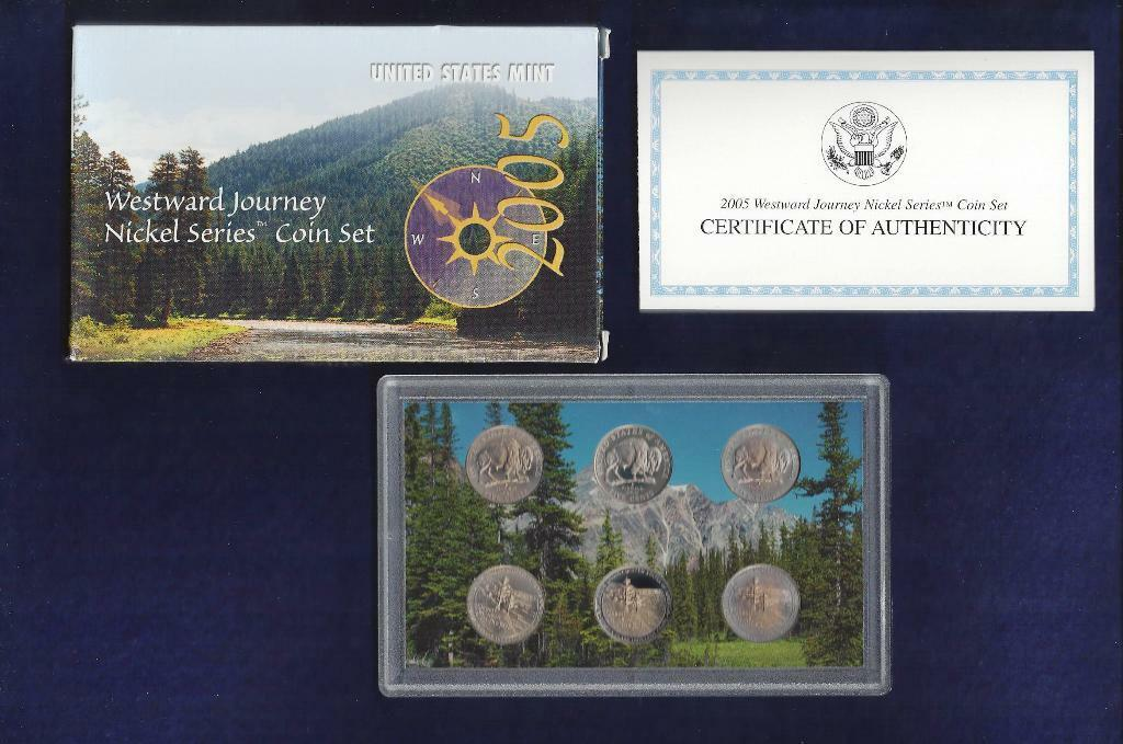 2005 WESTWARD JOURNEY NICKEL COIN SET...P,D & S...AMERICAN BISON & OCEAN IN VIEW